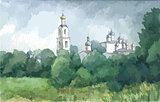 Russian landscape with a monastery, watercolor
