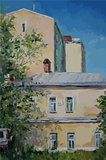 Moscow houses, oil painting