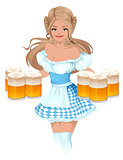 Oktoberfest Beer Festival. German girl waitress holding mugs of beer
