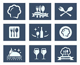 restaurant food icons set