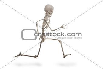 Skeleton running isolated on the white