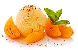Vanilla ice cream and fresh apricots.