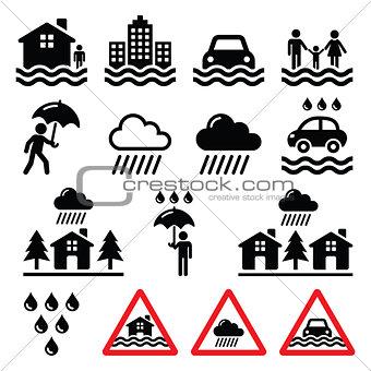 Flood, natural disaster, heavy rain icons set