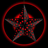 Black 3D star over red and black background