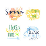 Summer Vacation Promo Signs Colorful Set