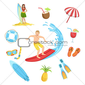 Beach And Surfing Holidays Icon Set