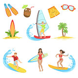Surfing Vacation Icon Set