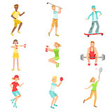 People Enjoying Sports Activities Illustrations