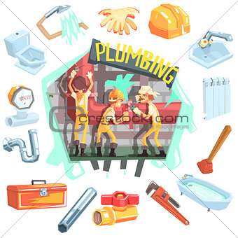 Three Plumbers At Work Surrounded By Profession Related Objects