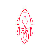 Rocket Ship Simple Contour Drawing