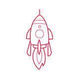 Rocket Ship Simple Contour Drawing