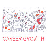Career Growth Process Elements Creative Sketch Infographic