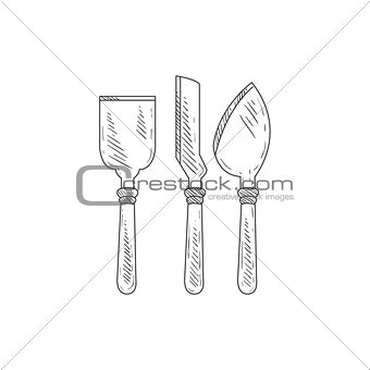 Three Special Knives For Cheese Hand Drawn Realistic Sketch