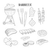 Barbecue Related Isolated Items And Food Hand Drawn Realistic Sketch