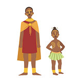 Chief And His Son In Skirt From African Native Tribe