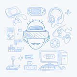 Vidoe Game Related Objects Set With The Gamer