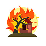 Burning Tree Falling On House Natural Force Sticker