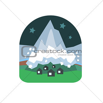 Avalanche Falling Down On Village Natural Force Sticker