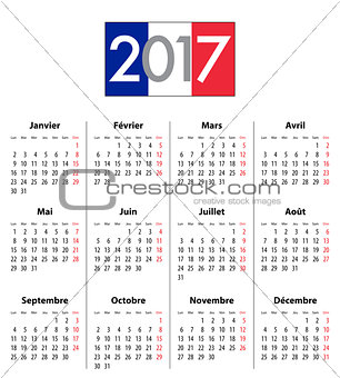 French Calendar grid for 2017 year flag colors