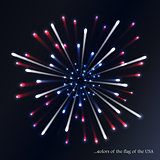 Fireworks background for USA Independence Day. Fourth of July celebrate. Independence Day fireworks and flag. USA flag and fireworks. 4th of July background with flag and fireworks