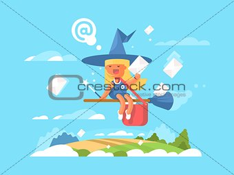Postal fairy on a broom