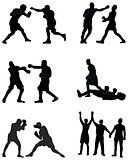 silhouettes of boxers