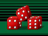 Play dice on green background