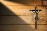 Jesus on Cross - Wooden Background