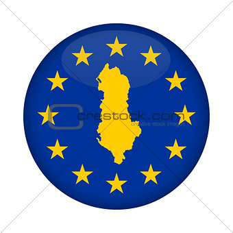 Albania map European Union flag button