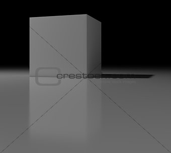 Gray cube with shadow on black background