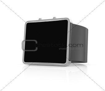 Black smart watch on white background