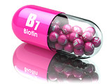 Vitamin B7 capsule. Pill with biotin. Dietary supplements.