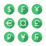 Set symbols of world currencies, vector illustration.