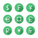 Set symbols of world currencies, vector illustration.