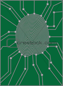 Thumbprint with Circuit Board Illustration