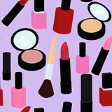 cartoon pink and red nail polish  lipstick seamless vector pattern background