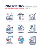 Building and construction line design icons