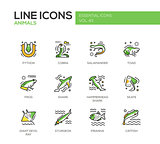 Animals - line design icons set