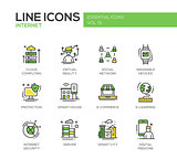 Internet - flat design line icons set
