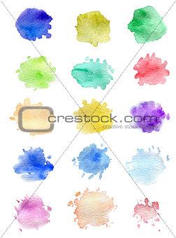 Watercolor blots for design