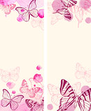 Vertical banners with butterflies
