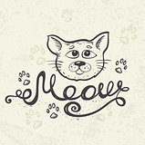 "Cat and lettering ""Meow"""