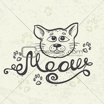 """Cat and lettering """"Meow"""""""
