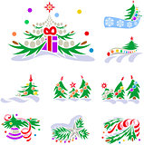 Set of winter holiday decorations with fir trees