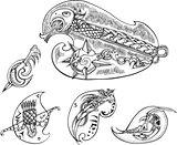 Set of bird-stylized blades