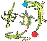 Set of comic gators in curcus (crococircus)