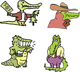Set of comic human-like gators (crocomen)