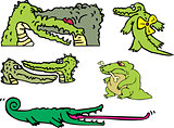 Set of comic gators and amusing crocodiles