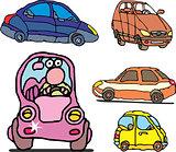 Set of comic non-brand family cars