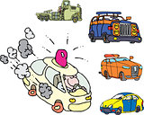 Set of comic non-brand emergency service cars